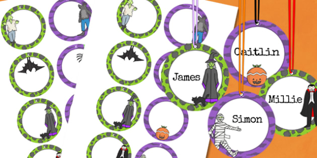 Halloween Party Name Tags - parties, celebrations, festivals