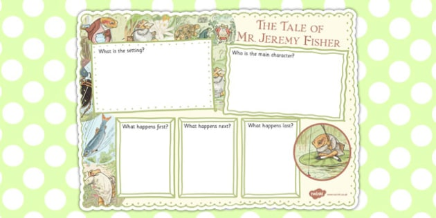 The Tale of Mr Jeremy Fisher Book Review Writing Frame - mr jeremy fisher