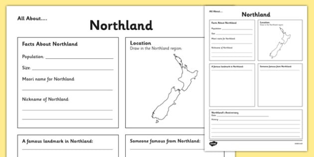 All About Northland Writing Frame - Northland, Anniversary, city, research
