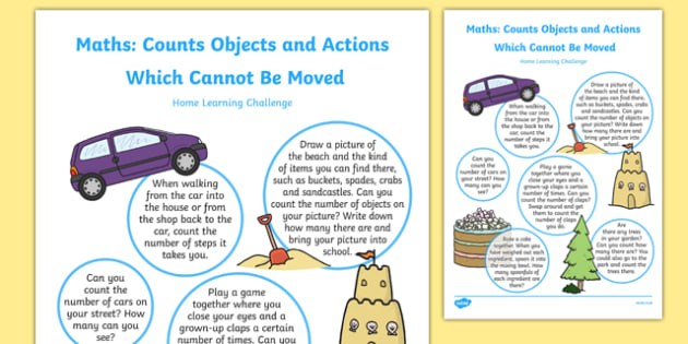 EYFS Counts Objects or Actions Which Cannot be Moved Home Learning Challenge Sheet