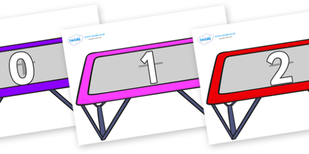 Numbers 0-50 on Trampolines - 0-50, foundation stage numeracy, Number recognition, Number flashcards, counting, number frieze, Display numbers, number posters