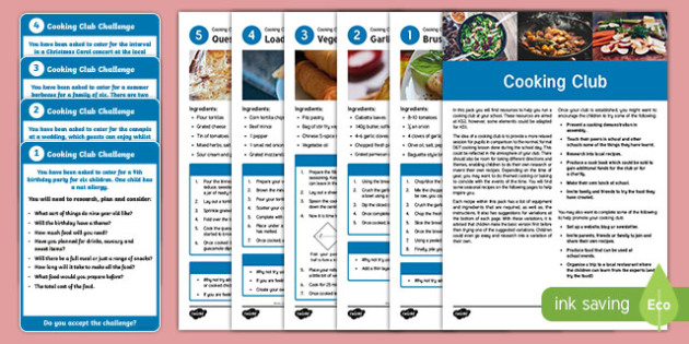 Cooking Club Guidance and Plans for Teachers