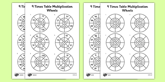 9 Times Table Multiplication Wheels Activity Sheet Pack - 9 times table, multiplication wheels, activity sheet, multiplication, wheels, worksheet