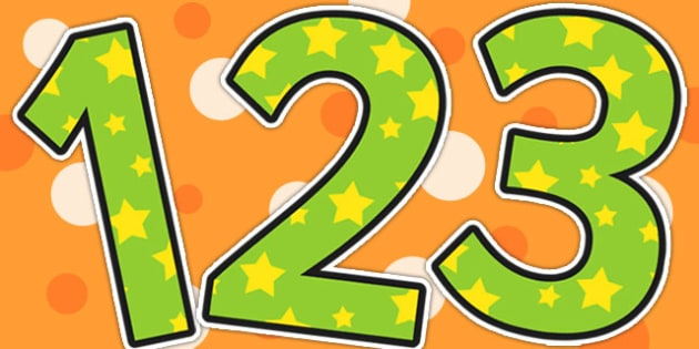 Green and Yellow Stars Themed Display Numbers - display, numbers
