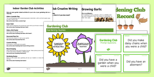 Elderly Care Gardening Club Indoor Activity Ideas Pack - Elderly, Reminiscence, Care Homes, Gardening Club