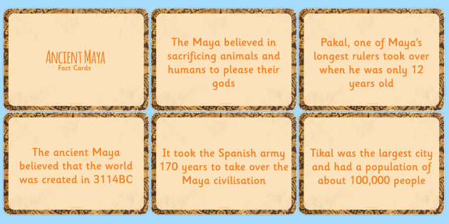 Amazing Maya Civilisation Display Fact Cards - ancient maya