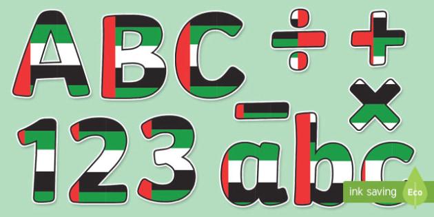 UAE Flag Display Letters and Numbers Pack