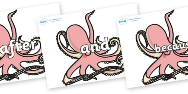 Connectives on Octopuses - Connectives, VCOP, connective resources, connectives display words, connective displays