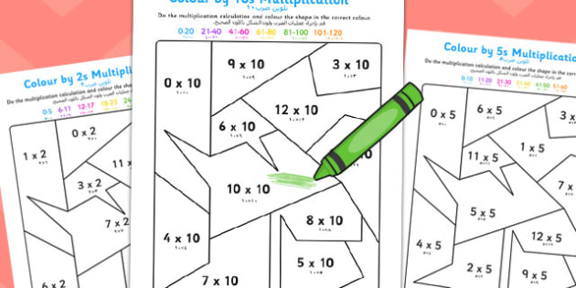 Colour by 2s, 5s, 10s Multiplication Arabic Translation - arabic