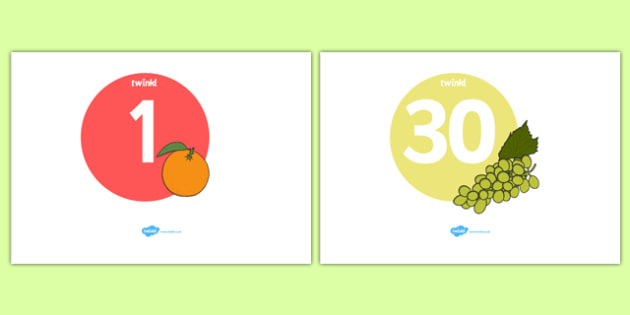 Numbers 0-30 on Fruit and Vegetables - Fruit and Vegetables, Foundation Numeracy, Number recognition, Number flashcards, 0-30, harvest, fruit