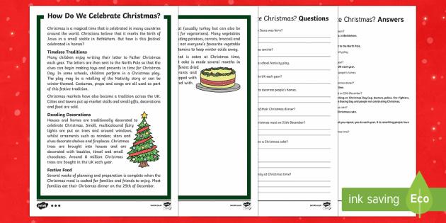 KS1 How Do We Celebrate Christmas Differentiated Reading Comprehension Activity - Christmas, Nativity, Jesus, xmas, Xmas, Father Christmas, Santa, traditions, Christmas Eve, angel, s