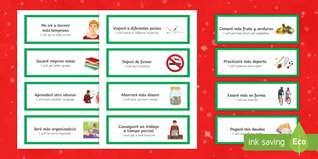 New Years Resolutions Word Cards Spanish Translation - spanish, new years resolutions, word cards, new year