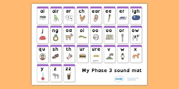 Phase 3 Sound Mat Dyslexia - sound mat, dyslexia sound mat, dyslexia font sound mat, phase 3 sound mat, letters and sounds, sound image mat, sen phonics