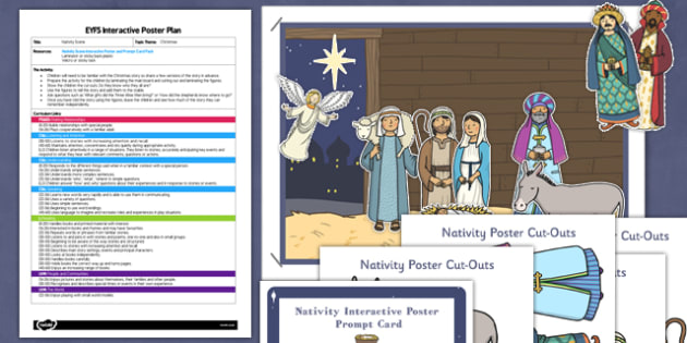 Nativity Scene EYFS Interactive Poster Plan and Resource Pack - nativity, scene, eyfs, interactive, poster, display