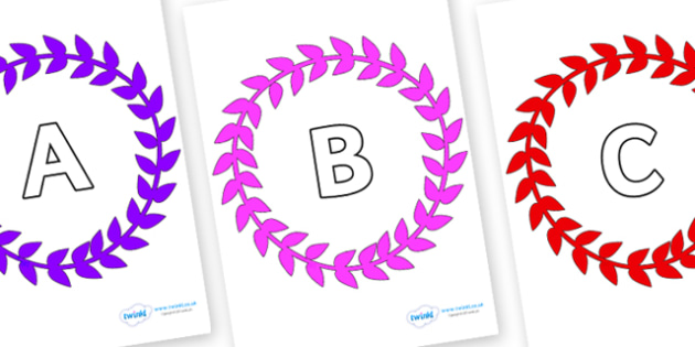A-Z Alphabet on Wreaths - A-Z, A4, display, Alphabet frieze, Display letters, Letter posters, A-Z letters, Alphabet flashcards