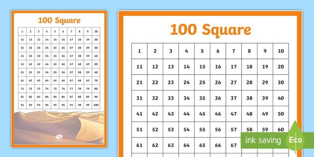 Desert Themed 100 Square - UAE Maths Resources, 100 Square, desert, place value, ordinal