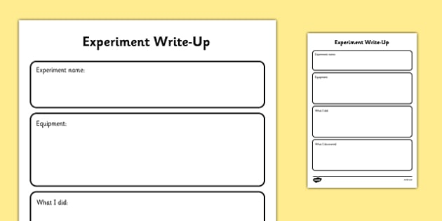 Experiment Science Investigation Write-Up Work Sheet - experiment, science, investigation, write up, worksheet, ks1, ks2