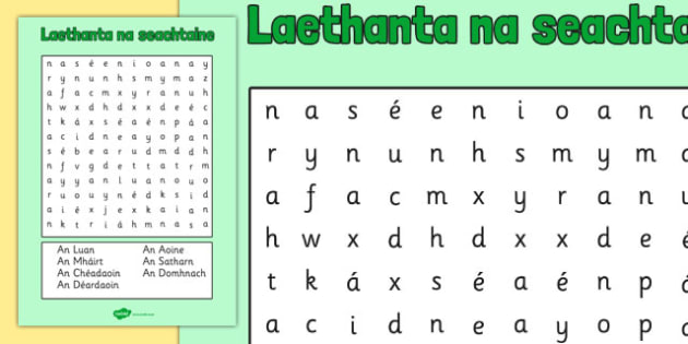 Laethanta na seachtaine Word Search Gaeilge - roi, irish, gaeilge, days, week, days of the week, wordsearch, word, search