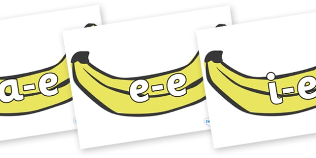 Modifying E Letters on Bananas - Modifying E, letters, modify, Phase 5, Phase five, alternative spellings for phonemes, DfES letters and Sounds