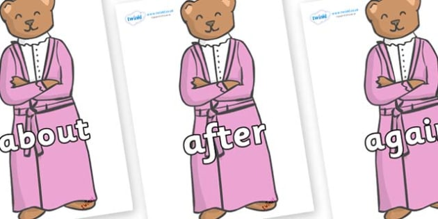 KS1 Keywords on Mummy Bear - KS1, CLL, Communication language and literacy, Display, Key words, high frequency words, foundation stage literacy, DfES Letters and Sounds, Letters and Sounds, spelling
