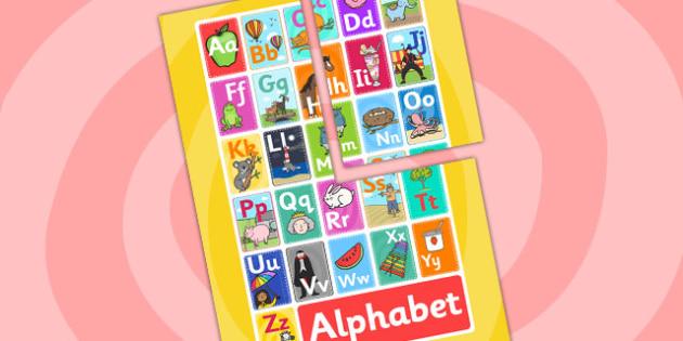 Alphabet Display A2 Poster - Alphabet display, alphabet poster, alphabet A2 poster, alphabet A2 display, alphabet display poster, alphabet sign