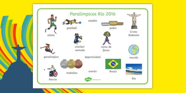 Paralímpicos Río 2016 - spanish, Paralympics, Rio 2016, Brazil, Key vocabulary, Literacy, English, key words, Spelling support, Disability Awareness, Sporting Events