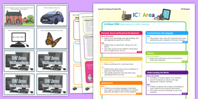 ICT Area Continuous Provision Plan Poster and Challenge Cards Pack Reception FS2