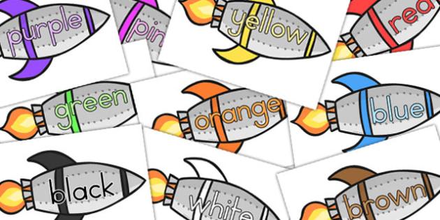 Colour Words On Rockets - australia, colour, words, rocket, space