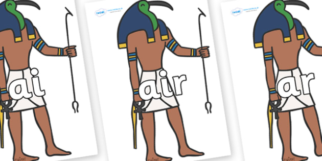 Phase 3 Phonemes on Egyptian Gods - Phonemes, phoneme, Phase 3, Phase three, Foundation, Literacy, Letters and Sounds, DfES, display