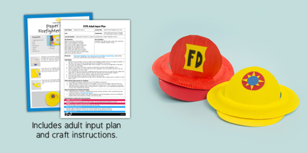 EYFS Paper Plate Firefighter's Hat Craft Adult Input Plan and Resource Pack