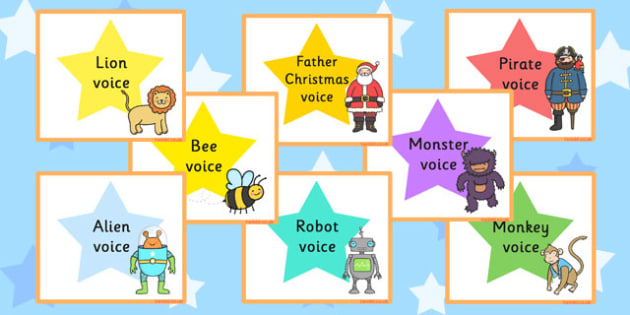 Silly Voices Activity Cards - activity, activities, games, voice, visual