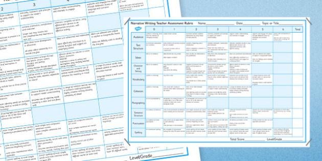 Narrative Writing Teacher Assessment Rubric - Narrative, Rubric, Marking, Asessment, NAPLAN, Australian