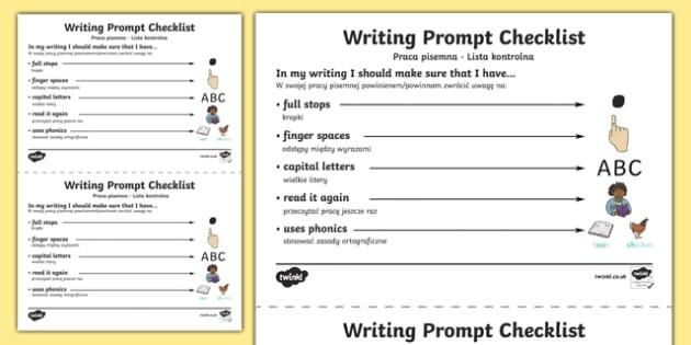 Writing Prompt Checklist Polish/English