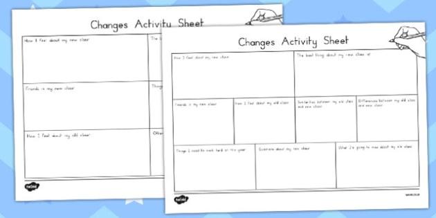 Changes Transition Worksheet - australia, changes, transition, worksheet