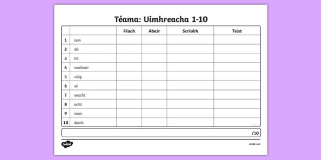 Spelling List Numbers 1-10 Irish Gaeilge Activity Sheet,, worksheet