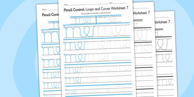 Pencil Control Loops And Curves Worksheet 7 - pencil control