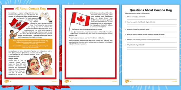 Canada Day Reading Comprehension Activities - canada, Canada Day, Canada's Birthday, Confederation, History, Dominion Day, The British North America Act, The Constitution Act, Parliament, holiday