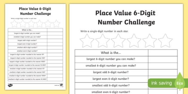 Place Value 6-Digit Number Challenge Activity Sheet-Scottish, worksheet