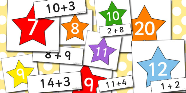 Calculations to 20 Matching Activity Stars - calculations, match