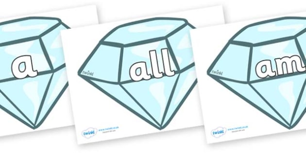 Foundation Stage 2 Keywords on Diamonds - FS2, CLL, keywords, Communication language and literacy,  Display, Key words, high frequency words, foundation stage literacy, DfES Letters and Sounds, Letters and Sounds, spelling