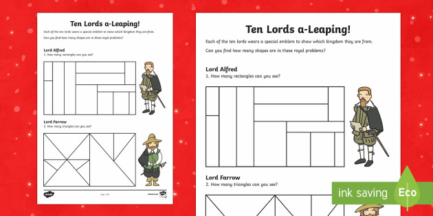 Ten Lords Leaping Activity Sheet