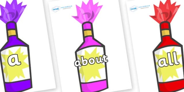 100 High Frequency Words on Party Poppers - High frequency words, hfw, DfES Letters and Sounds, Letters and Sounds, display words