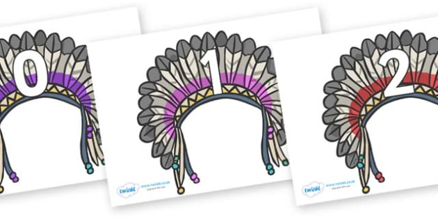 Numbers 0-50 on Headdresses - 0-50, foundation stage numeracy, Number recognition, Number flashcards, counting, number frieze, Display numbers, number posters