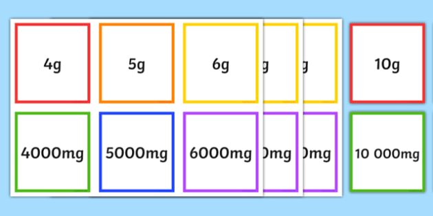 mg g kg Equivalents Matching Cards - matching, cards, grams