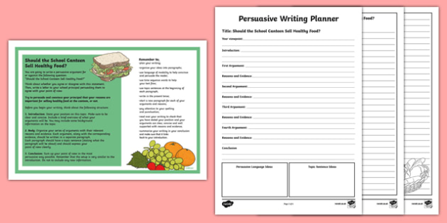 Year 5 Should the School Canteen Sell Healthy Food? Persuasive Writing Activity Sheet -Australia