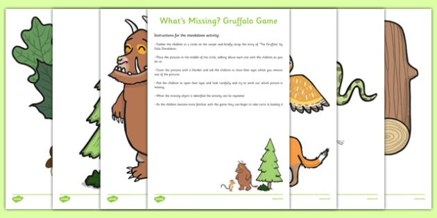 What's Missing? Game Resource Pack to Support Teaching on The Gruffalo - puzzle, activity, missing, thinking