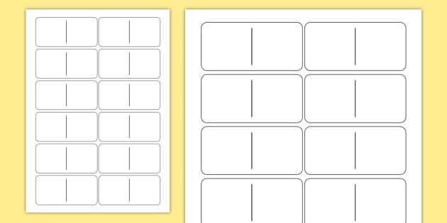 Blank Domino Template - dominoes, games, classroom games, game, Domino, blank, number, subatising, numeral identification