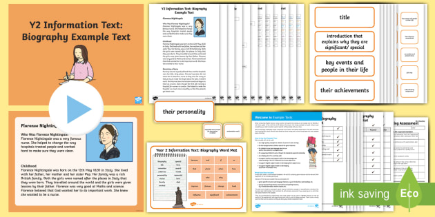 Y2 Information Texts: Biography Example Text - Example Texts Y2, Information Texts, biography, exemplification, WAGOLL, exemplification, moderating