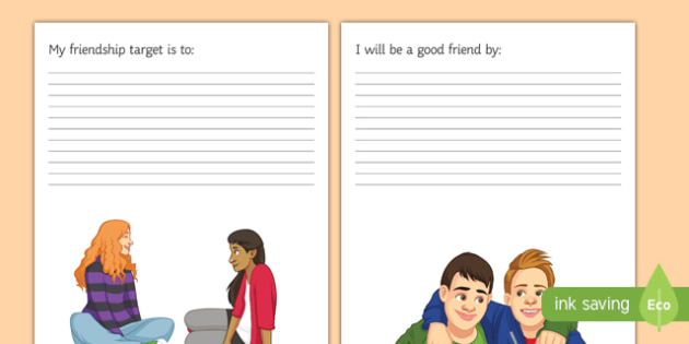 KS3 My Friendship Targets and I Will Be A Good Friend Sheets - SEN, support, behaviour, relationships, secondary, activity, PSHE, relationship, caring, understanding,