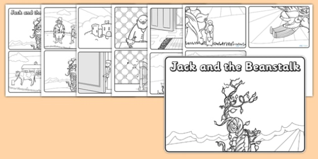 Jack and the Beanstalk Story Sequencing (4 per A4 with Speech Bubbles)  - Jack and the Beanstalk, traditional tales, tale, fairy tale, Jack, giant, beanstalk, beans, golden egg, axe, castle, sky